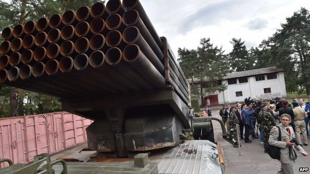 Military hardware said to be Russian displayed in Kiev - 29 August