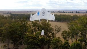 A drone delivering an item