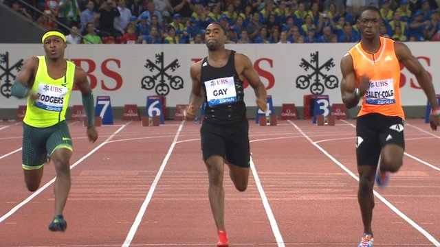 Kemar Bailey-Cole beats Michael Rodgers and Tyson Gay to win the Diamond League 100m race in Zurich