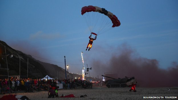 Night air parachutist