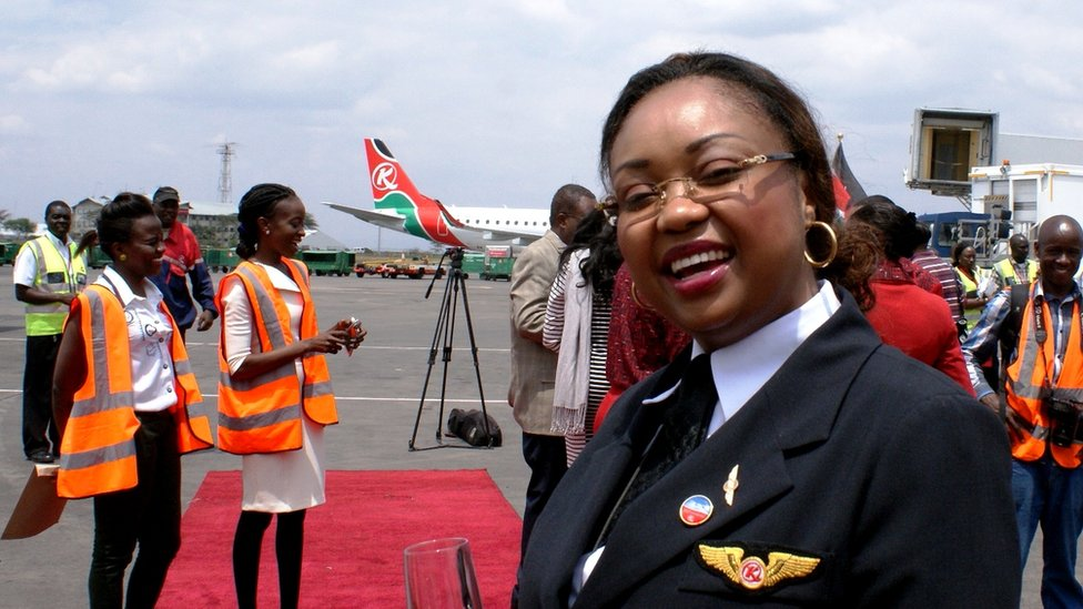 Kenya Airways Captain Irene Koki Mutungi, Nairobi, Kenya - Thursday 28 August 2014 - taken by the BBC's Peter Njoroge