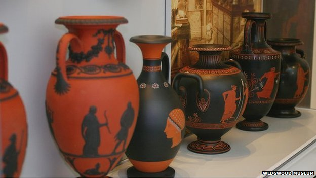 18th Century rosso antico and encaustic painted black basalt vases. Photo: Wedgwood Museum