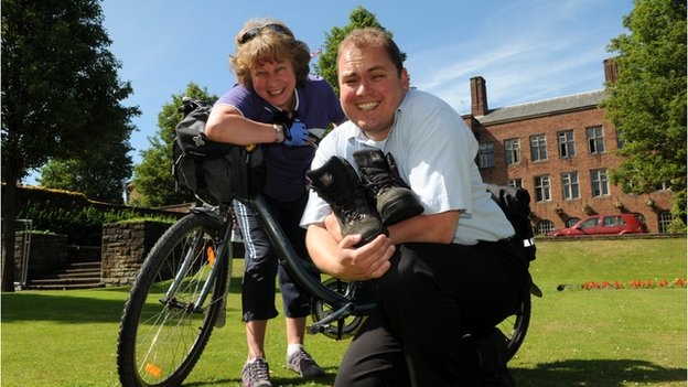 Two people taking part in cycle to work day