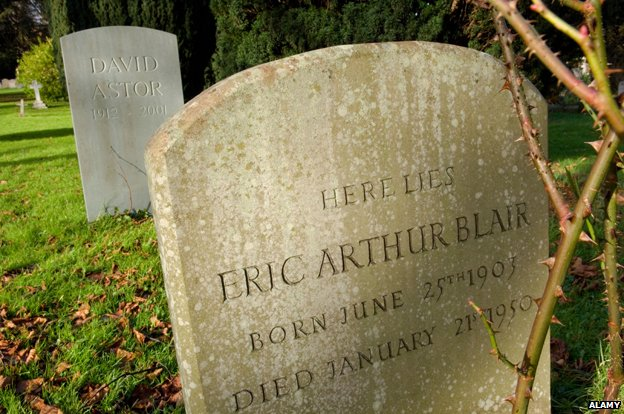 "Tombstone reads: ""Here lies Eric Arthur Blair"""
