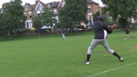London Met player striking the ball