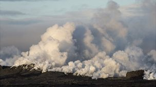 Steam rises over a fissure in a lava field north of the Vatnajokull glacier, which covers part of Bardarbunga volcano system - 29 August 2014
