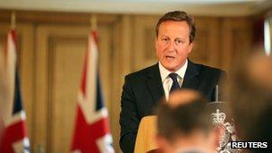 David Cameron at press conference