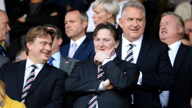 James and Sandy Easdale and Rangers chief executive Graham Wallace