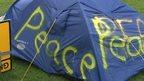 Peace campaigner's tent