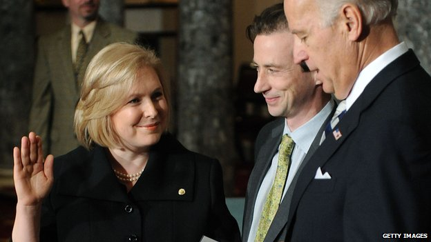 Kirsten Gillibrand taking the oath of office as a senator in 2009.