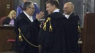 Lawyers in a legal case against Silvio Berlusconi, 20 June 2014