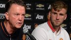 Man Utd manager Luis van Gaal (left) and defender Luke Shaw