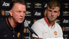 Man Utd manager Luis van Gaal (left) and defender Luke Shaw