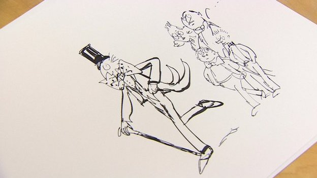 Quentin Blake's illustration to missing Roald Dahl chapter The Vanilla Fudge Room