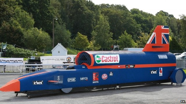 Life-sized replica of the Bloodhound supersonic car made from K'NEX toy pieces