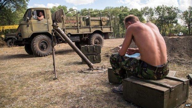 Ukrainian servicemen in the Donetsk region, on 29 August 2014.