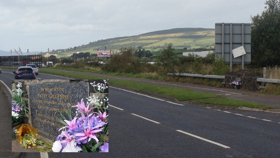 Buncrana Road now, with memorial to Patsy Gillespie