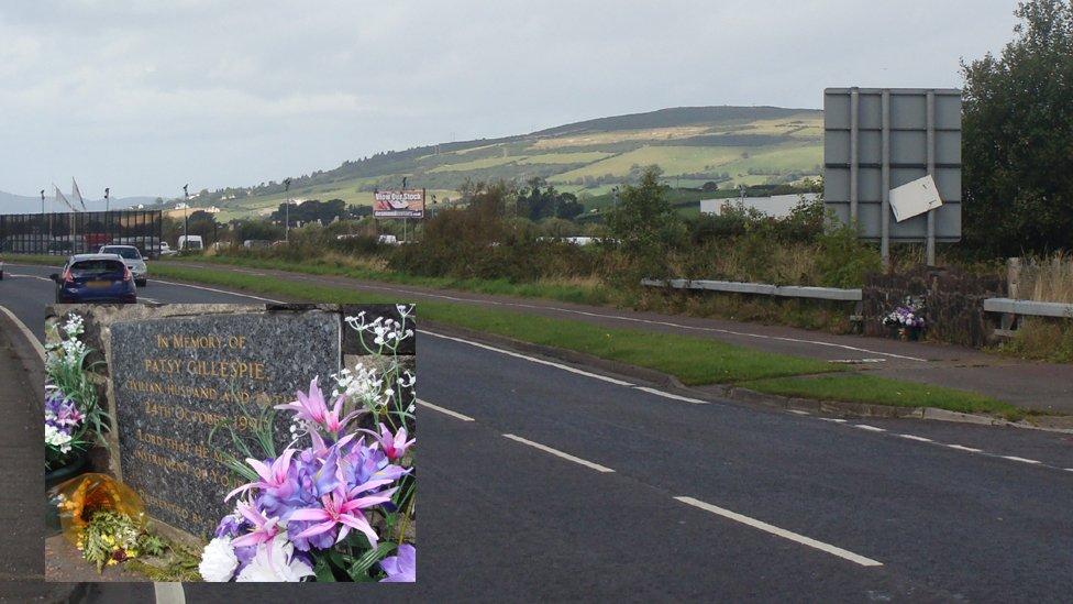 Buncrana Road now, with memorial to Patsy Gillespie