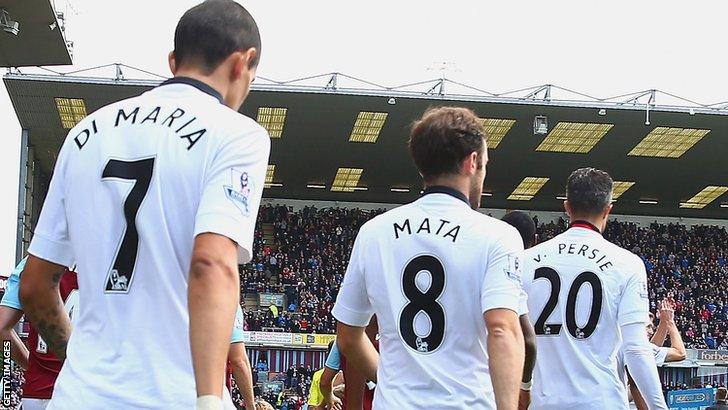 Manchester United players Angel Di Maria, Juan Mata, Robin van Persie