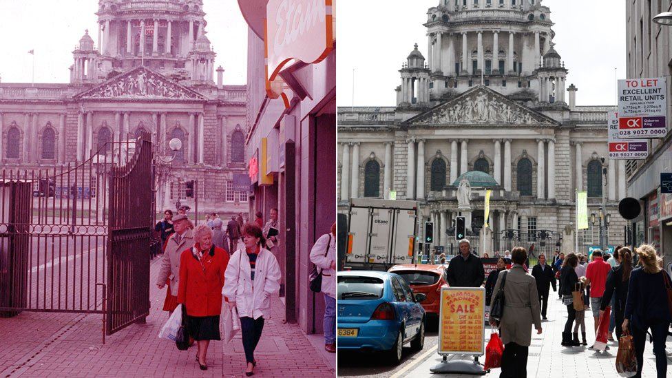 Security gates at Royal Avenue during the Troubles on the left, and how it looks today