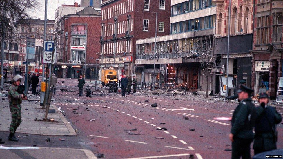 Bomb scene in High Street, Belfast