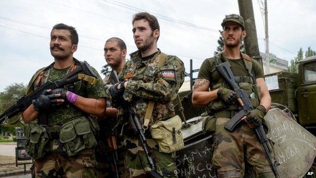 Supporters of Pro-Russian rebels in Donetsk, eastern Ukraine, 18 August 2014