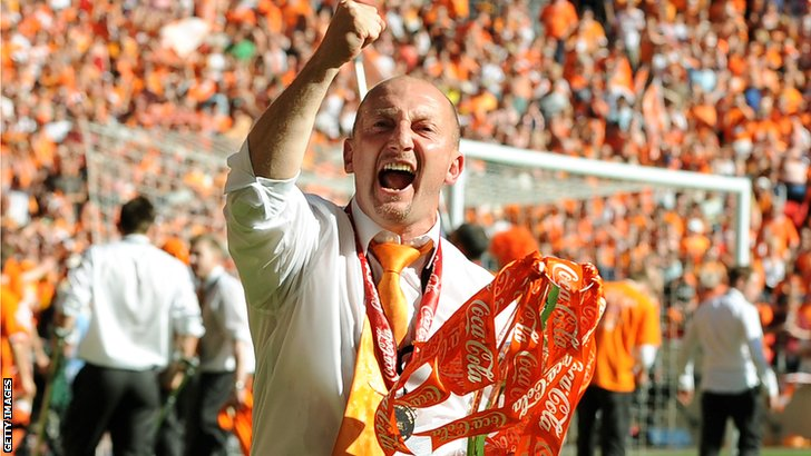 Ian Holloway celebrates Blackpool's promotion
