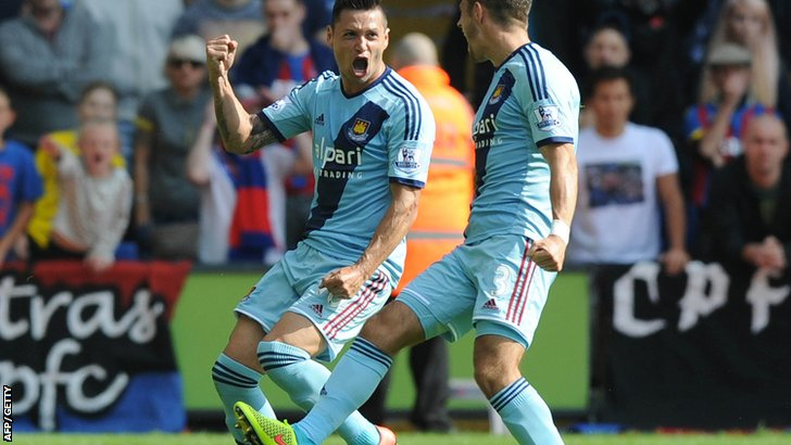 Mauro Zarate celebrates scoring for West Ham