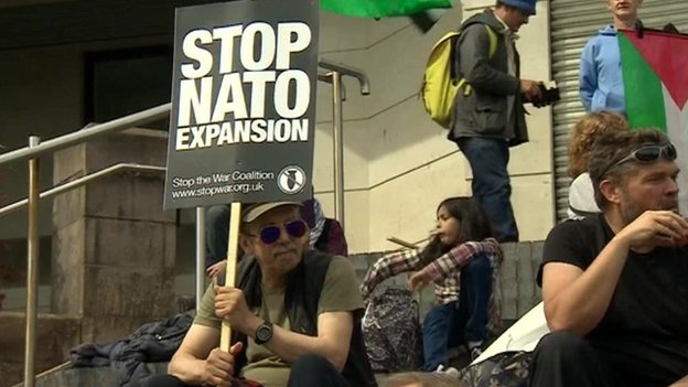 Anti-Nato protestors in Newport