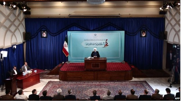 Iran president Hassan Rouhani during a press conference in Tehran August 30 2014