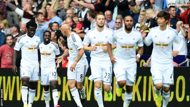 Swansea celebrate Nathan Dyer's early goal
