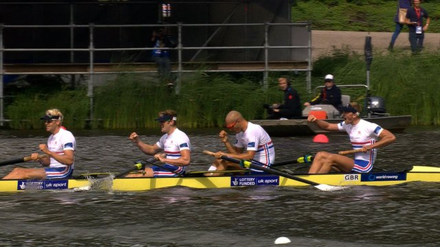 Great Britain's men's four team of Andy Triggs Hodge, George Nash, Moe Sbihi and Alex Gregory