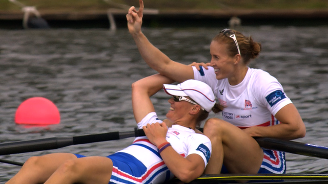Heather Stanning and Helen Glover after winning gold in the women's pair at the World Rowing Championships.