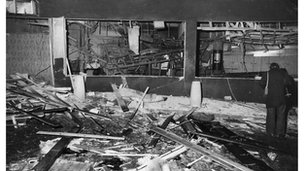 The wrecked interior of the Mulberry Bush public house, Birmingham, after an IRA bombing on 21 November 1974