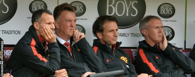 Manchester United coaching staff at Turf Moor