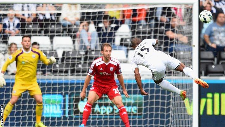 Wayne Routledge scores Swansea's second goal