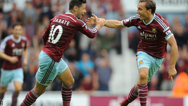 Mark Noble scores for West Ham against Southampton
