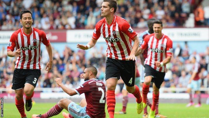 Morgan Schneiderlin scores Southampton's equaliser against West Ham
