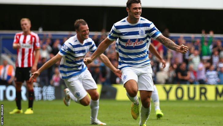 Charlie Austin celebrates after scoring for QPR against Sunderland