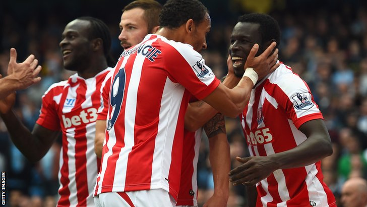 Mame Biram Diouf scores for Stoke City against Manchester City
