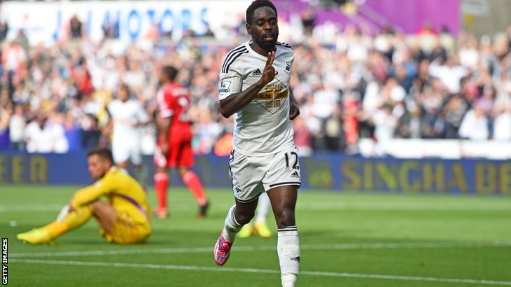 Nathan Dyer scores Swansea's third goal of the afternoon