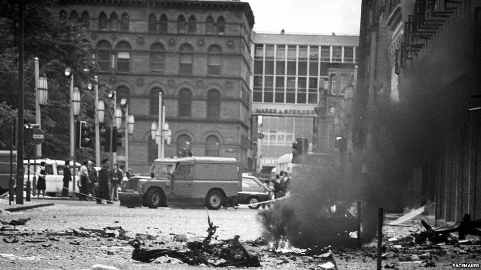 Bomb scene in Donegall Square East