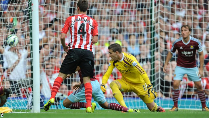 Morgan Schneiderlin sneaks in to scores Southampton's second goal at Upton Park
