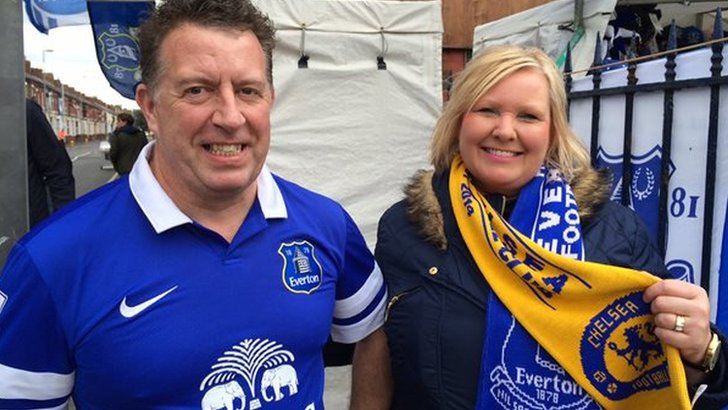 Everton fan and his Chelsea-supporting wife