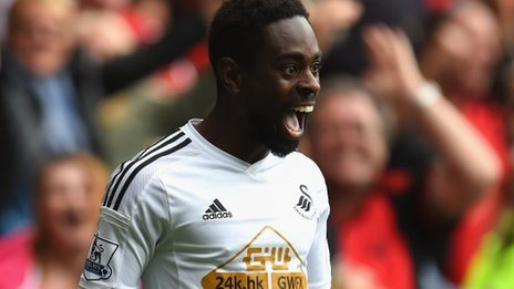 Nathan Dyer celebrates scoring Swansea's second goal against West Bromwich Albion