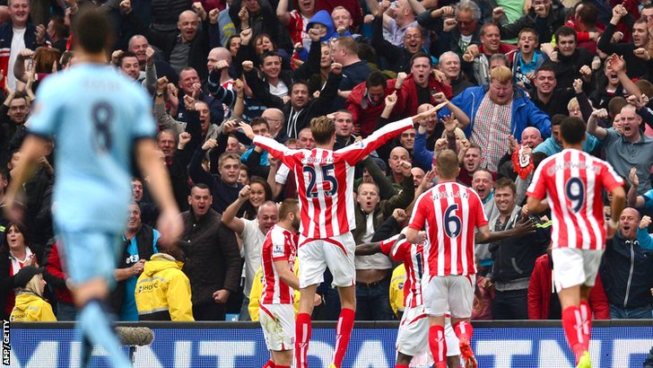 Stoke City celebrate their win over Manchester City