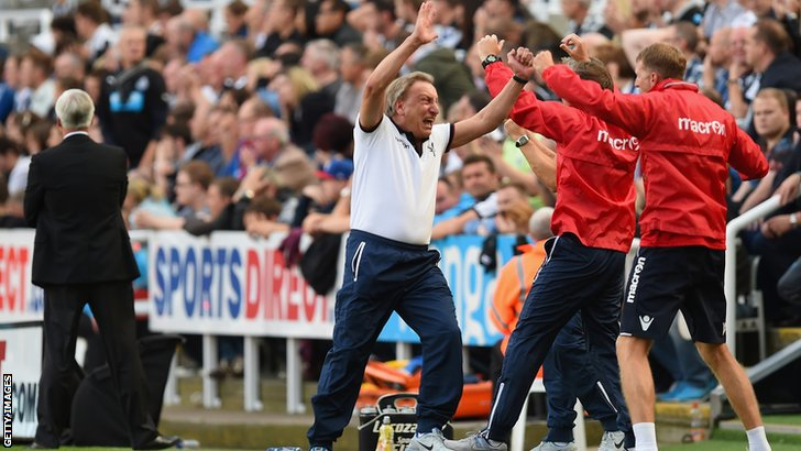 Neil Warnock celebrates a last minute equaliser for Crystal Palace