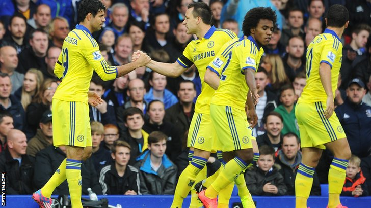 Chelsea celebrate after Diego Costa's opening goal