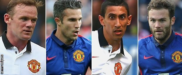 Wayne Rooney, Robin van Persie, Angel Di Maria and Juan Mata