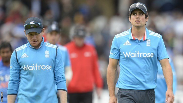 England's Eoin Morgan and Alastair Cook